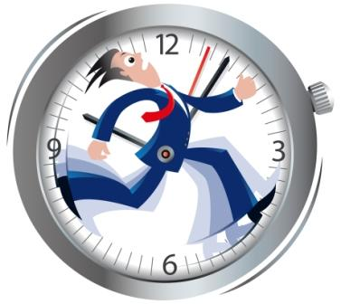 Person running with time in the clock