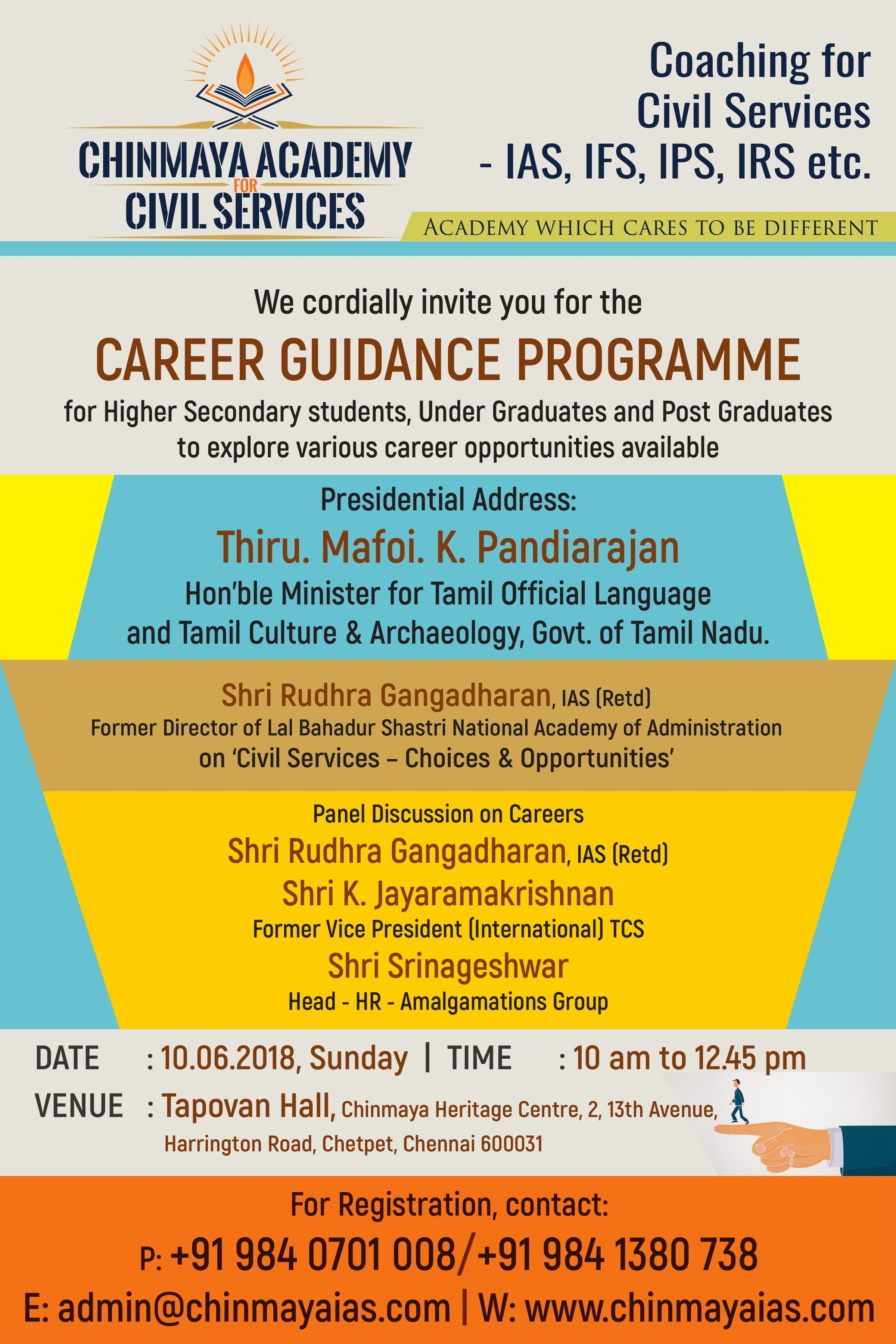 Poster for Career guidance programme conducted by Chinmaya Academy for Civil Services